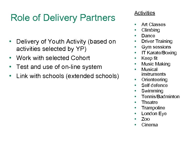 Role of Delivery Partners • Delivery of Youth Activity (based on activities selected by