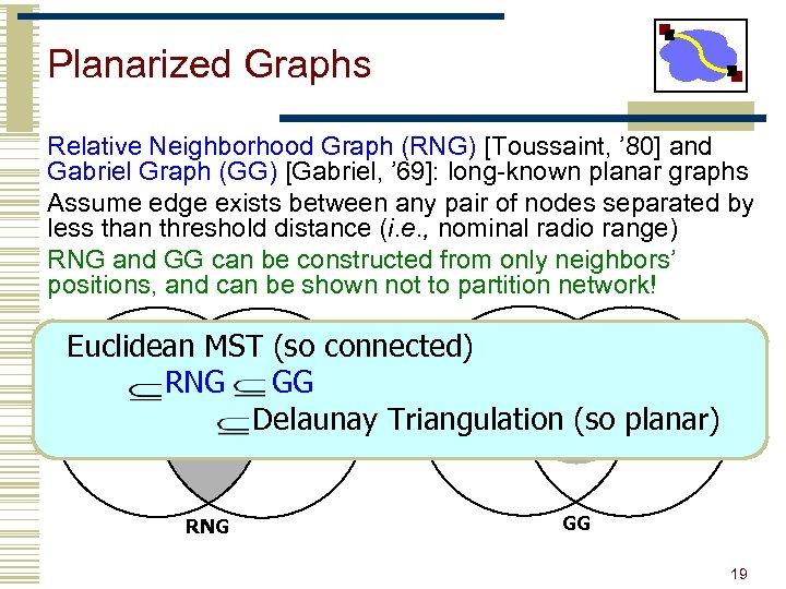 Planarized Graphs Relative Neighborhood Graph (RNG) [Toussaint, ' 80] and Gabriel Graph (GG) [Gabriel,