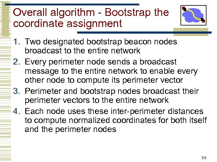 Overall algorithm - Bootstrap the coordinate assignment 1. Two designated bootstrap beacon nodes broadcast