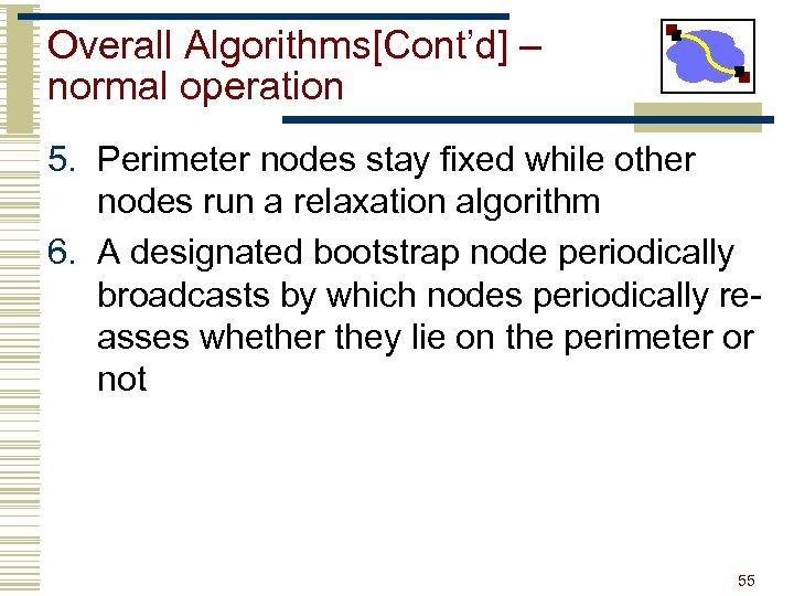 Overall Algorithms[Cont'd] – normal operation 5. Perimeter nodes stay fixed while other nodes run