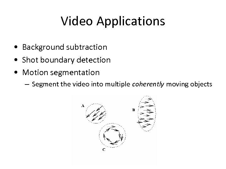 Video Applications • Background subtraction • Shot boundary detection • Motion segmentation – Segment