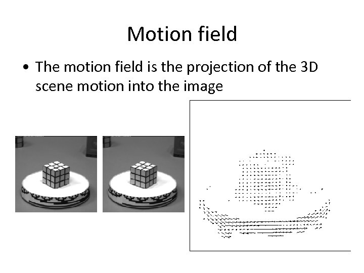 Motion field • The motion field is the projection of the 3 D scene