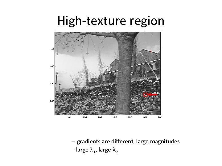 High-texture region – gradients are different, large magnitudes – large l 1, large l