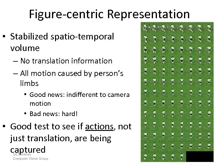 Figure-centric Representation • Stabilized spatio-temporal volume – No translation information – All motion caused