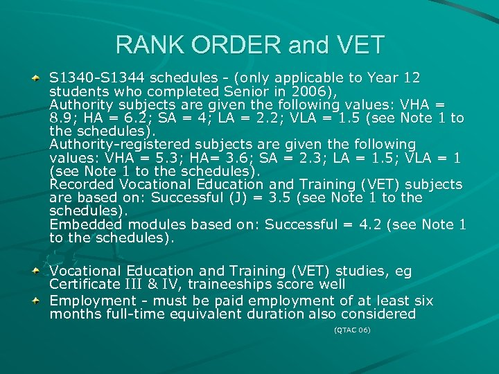 RANK ORDER and VET S 1340 -S 1344 schedules - (only applicable to Year