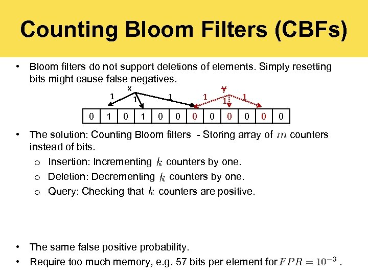 Counting Bloom Filters (CBFs) • Bloom filters do not support deletions of elements. Simply