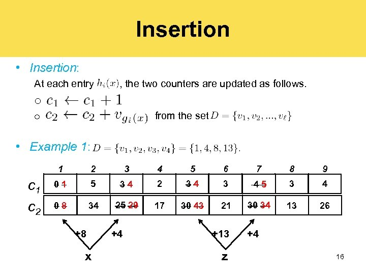 Insertion • Insertion: At each entry , the two counters are updated as follows.