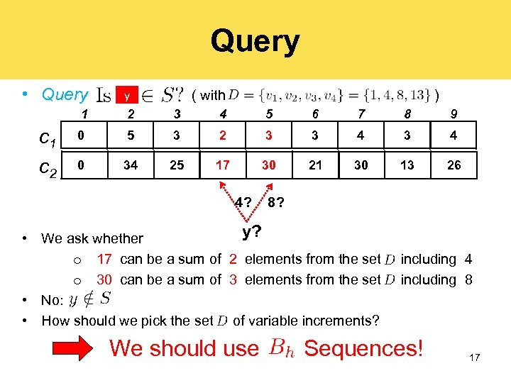 Query • Query y ( with ) 1 c 2 2 3 4 5