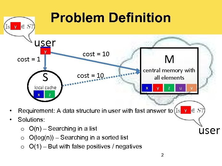 Problem Definition y x user x y cost = 1 S cost = 10