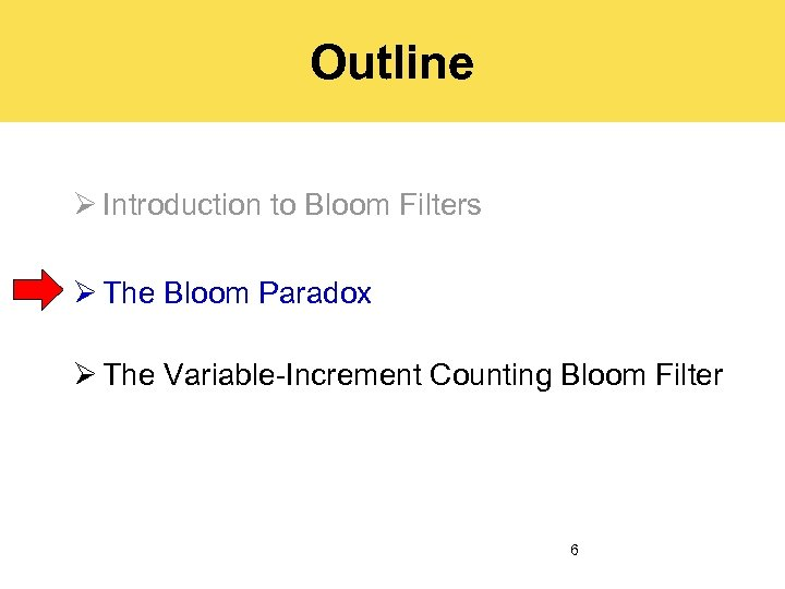 Outline Ø Introduction to Bloom Filters Ø The Bloom Paradox Ø The Variable-Increment Counting