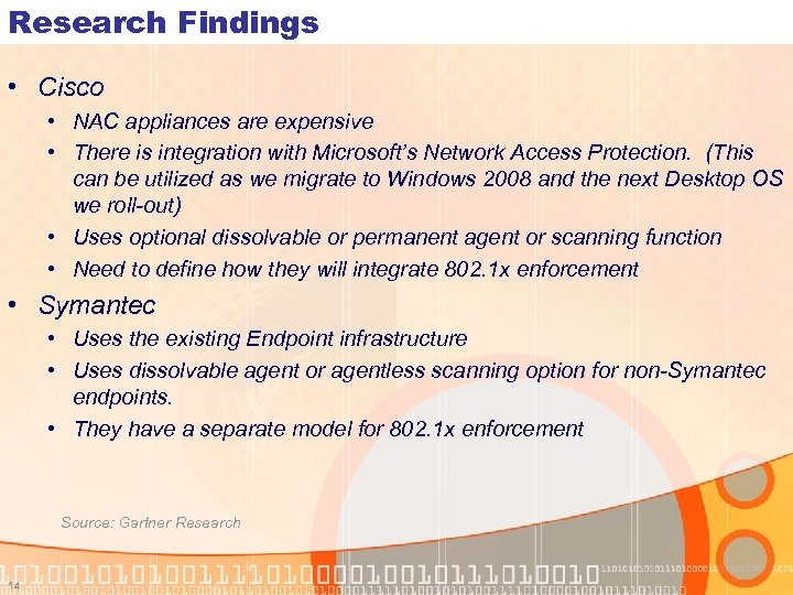 Research Findings • Cisco • NAC appliances are expensive • There is integration with