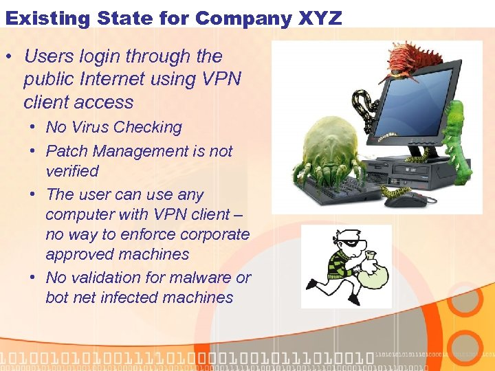 Existing State for Company XYZ • Users login through the public Internet using VPN