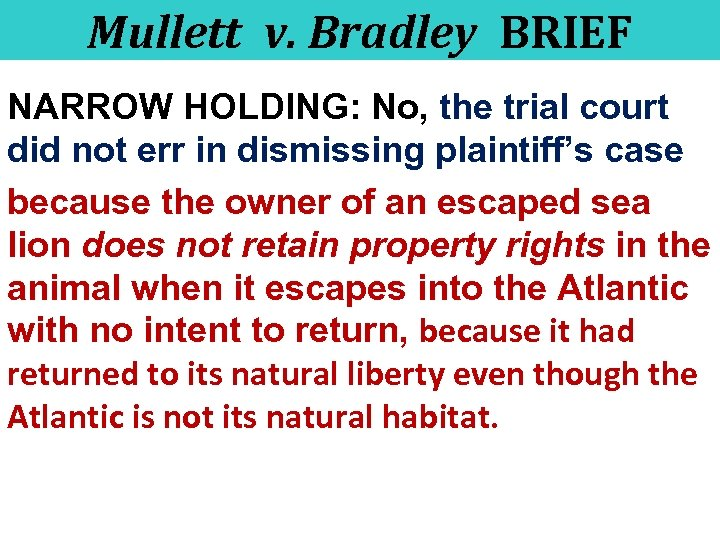 Mullett v. Bradley BRIEF NARROW HOLDING: No, the trial court did not err in