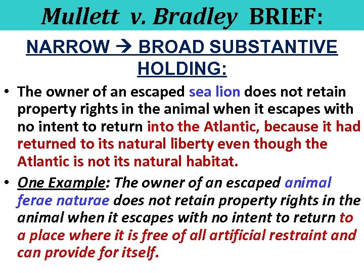 Mullett v. Bradley BRIEF: NARROW BROAD SUBSTANTIVE HOLDING: • The owner of an escaped