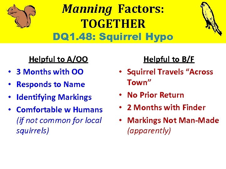 Manning Factors: TOGETHER DQ 1. 48: Squirrel Hypo • • Helpful to A/OO 3