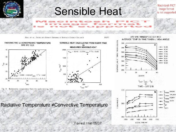 Sensible Heat Radiative Temperature ≠Convective Temperature Forrest Hall 05/07