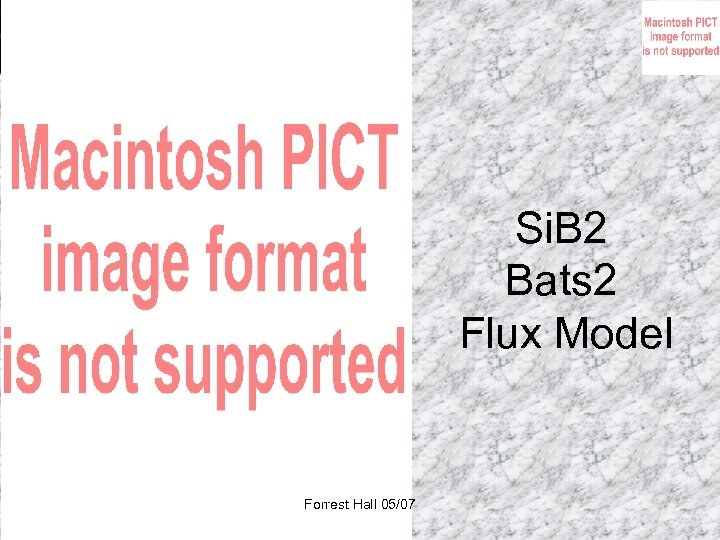 Si. B 2 Bats 2 Flux Model Forrest Hall 05/07