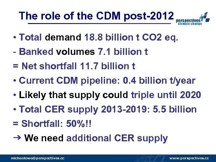 The role of the CDM post-2012 • Total demand 18. 8 billion t CO
