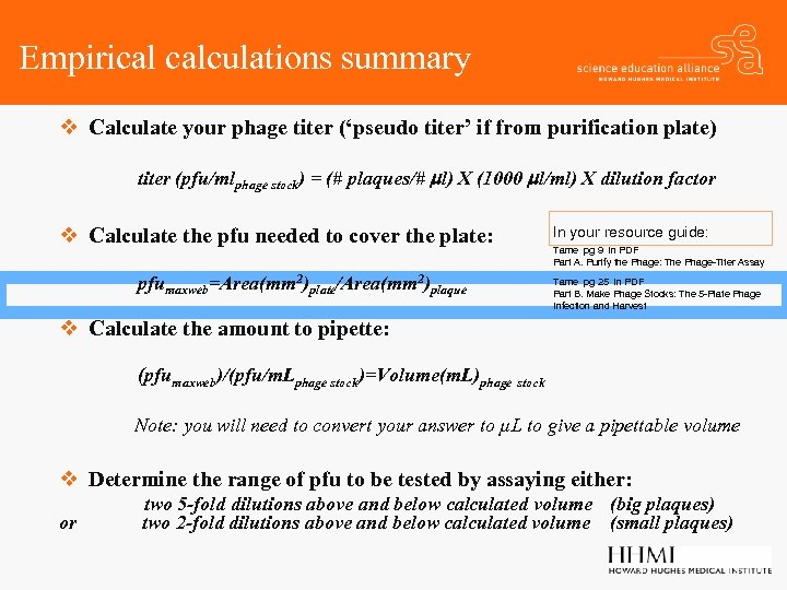Empirical calculations summary v Calculate your phage titer ('pseudo titer' if from purification plate)