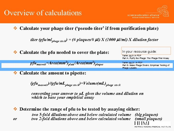 Overview of calculations v Calculate your phage titer ('pseudo titer' if from purification plate)