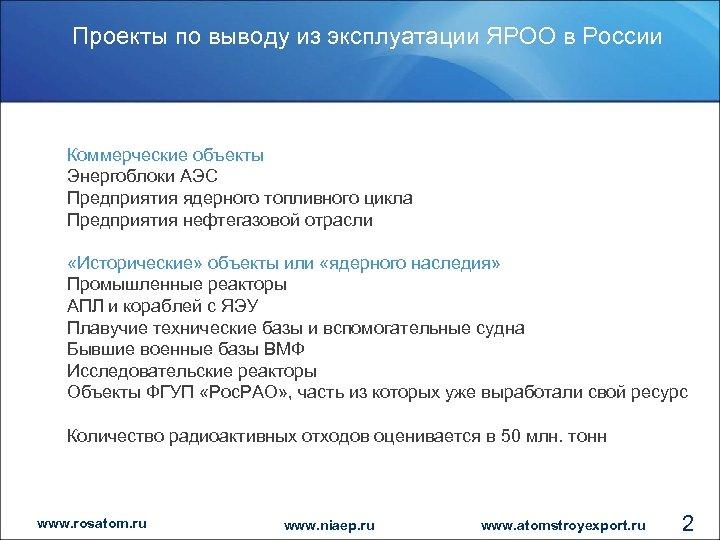 Проекты по выводу из эксплуатации ЯРОО в России Коммерческие объекты Энергоблоки АЭС Предприятия ядерного