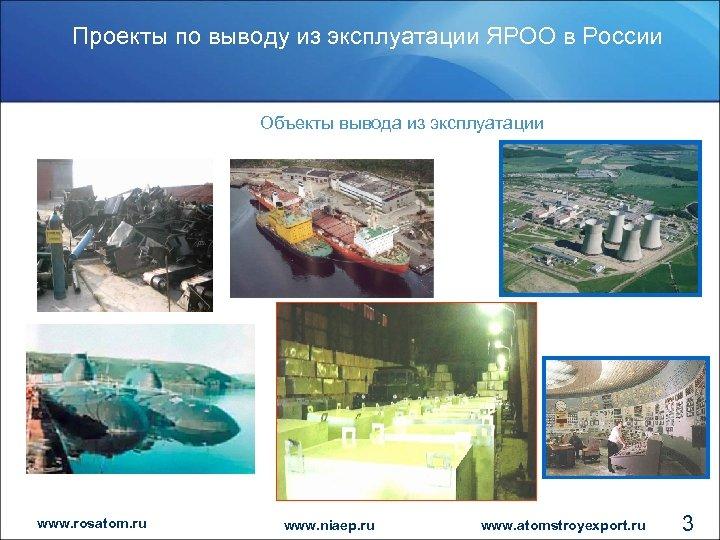 Проекты по выводу из эксплуатации ЯРОО в России Объекты вывода из эксплуатации www. rosatom.