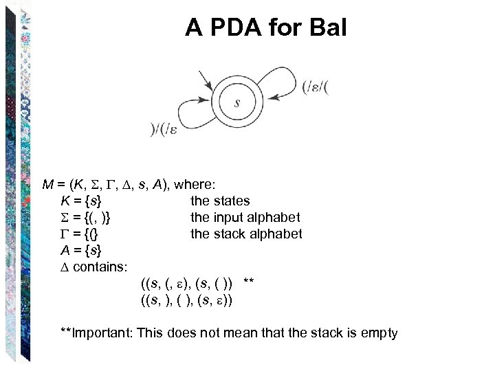 A PDA for Bal M = (K, , s, A), where: K = {s}