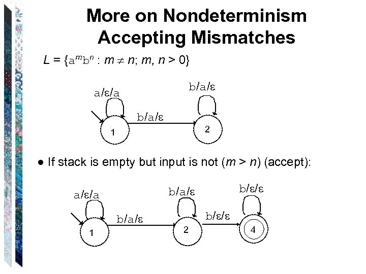 More on Nondeterminism Accepting Mismatches L = {ambn : m n; m, n >
