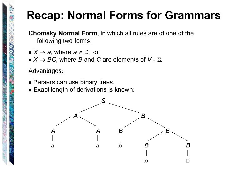 Recap: Normal Forms for Grammars Chomsky Normal Form, in which all rules are of