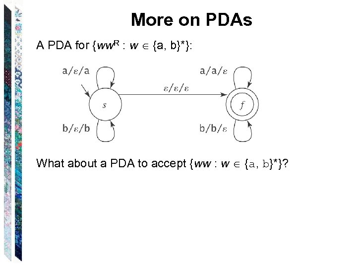 More on PDAs A PDA for {ww. R : w {a, b}*}: What about