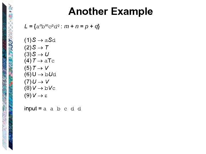 Another Example L = {anbmcpdq : m + n = p + q} (1)