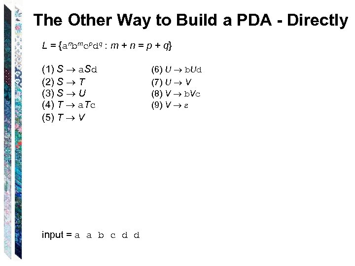 The Other Way to Build a PDA - Directly L = {anbmcpdq : m