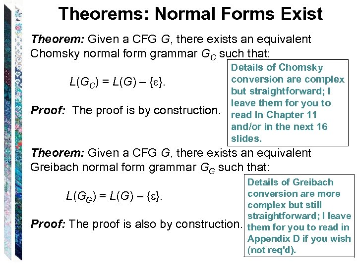 Theorems: Normal Forms Exist Theorem: Given a CFG G, there exists an equivalent Chomsky