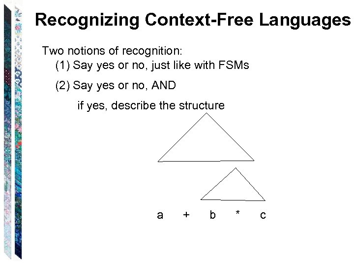 Recognizing Context-Free Languages Two notions of recognition: (1) Say yes or no, just like