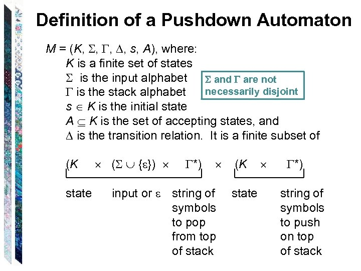 Definition of a Pushdown Automaton M = (K, , s, A), where: K is