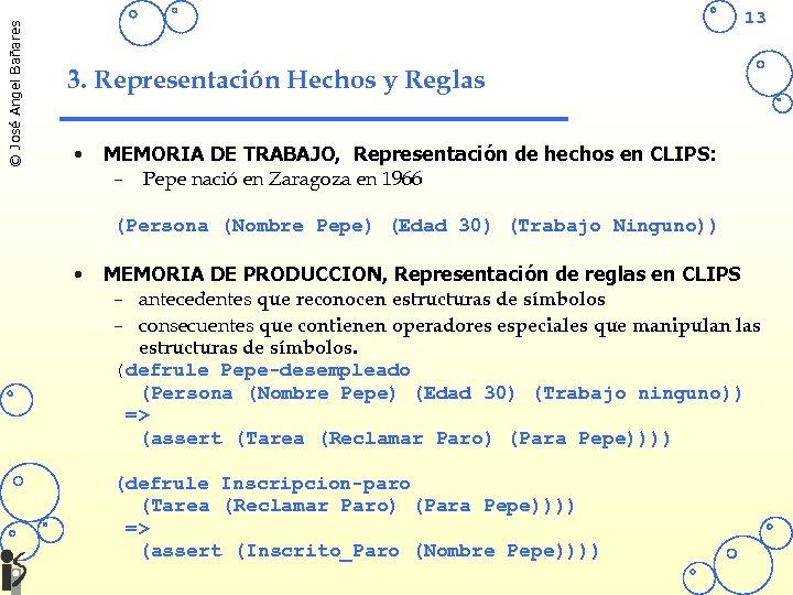 © José Angel Bañares 13 3. Representación Hechos y Reglas • MEMORIA DE TRABAJO,