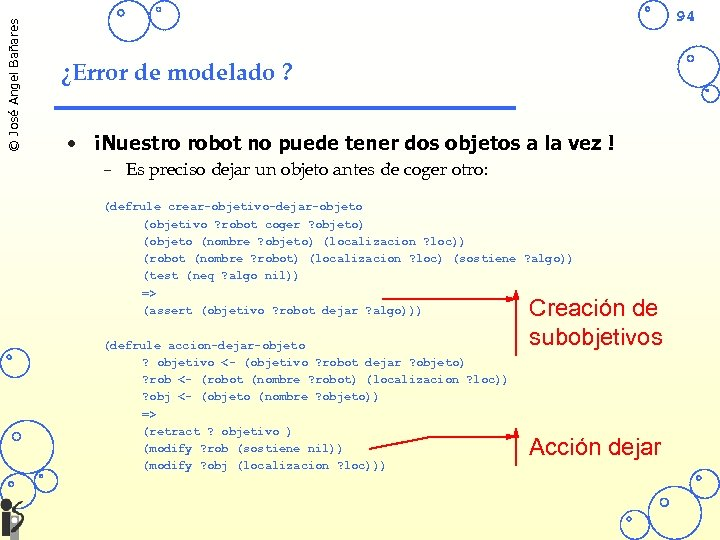 © José Angel Bañares 94 ¿Error de modelado ? • ¡Nuestro robot no puede
