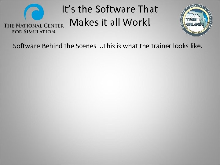 It's the Software That Makes it all Work! Software Behind the Scenes …This is