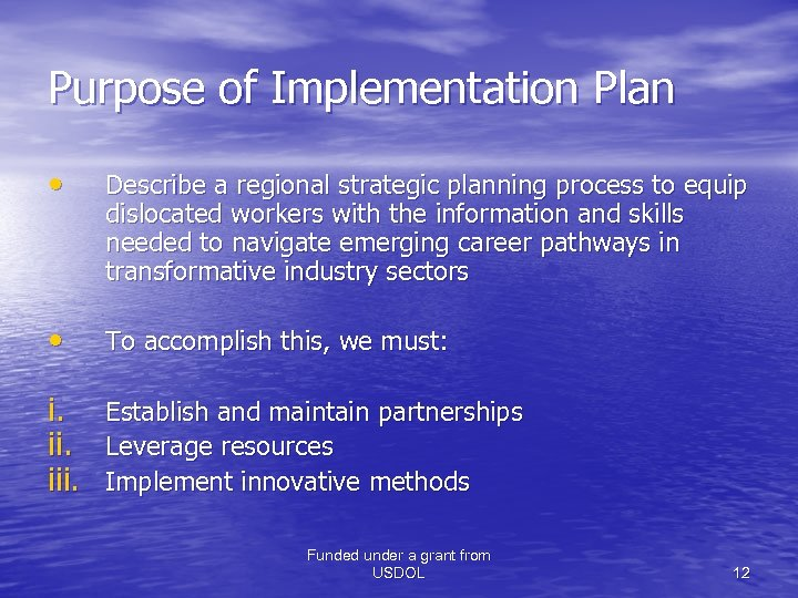 Purpose of Implementation Plan • Describe a regional strategic planning process to equip dislocated
