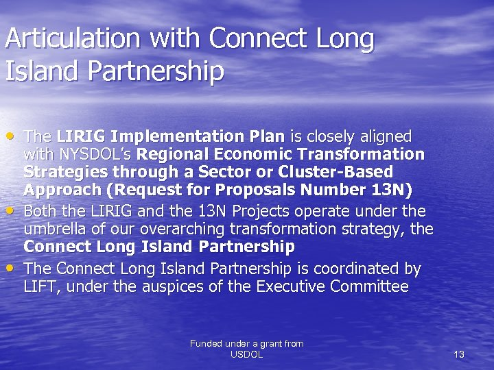 Articulation with Connect Long Island Partnership • The LIRIG Implementation Plan is closely aligned