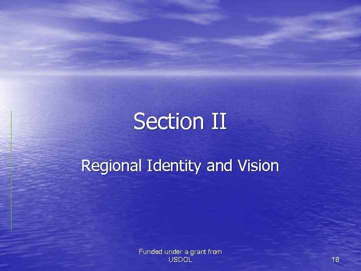Section II Regional Identity and Vision Funded under a grant from USDOL 18