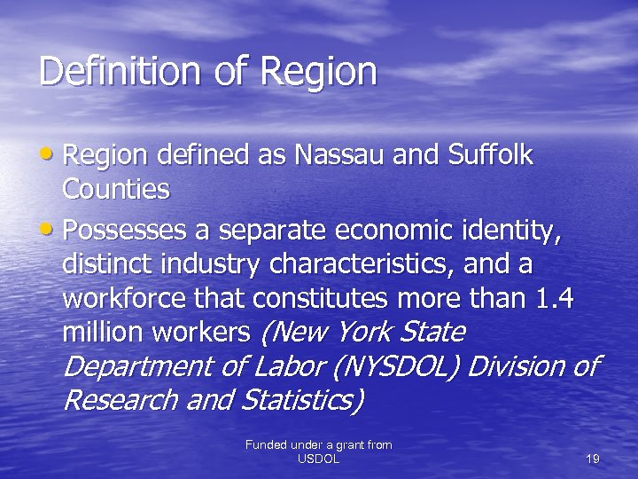 Definition of Region • Region defined as Nassau and Suffolk Counties • Possesses a