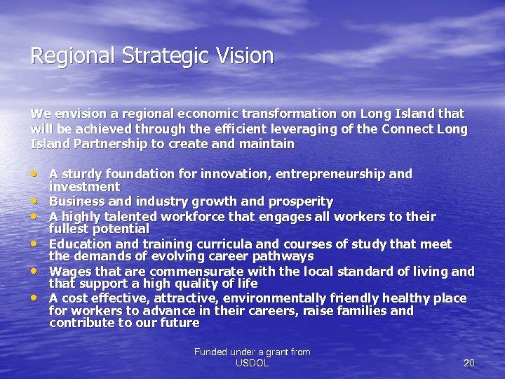Regional Strategic Vision We envision a regional economic transformation on Long Island that will