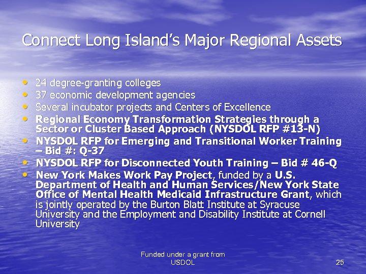 Connect Long Island's Major Regional Assets • • 24 degree-granting colleges 37 economic development