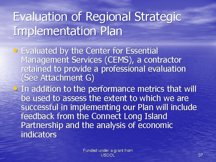 Evaluation of Regional Strategic Implementation Plan • Evaluated by the Center for Essential •