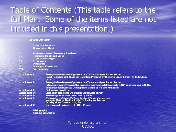 Table of Contents (This table refers to the full Plan. Some of the items