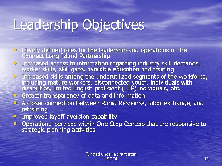 Leadership Objectives • Clearly defined roles for the leadership and operations of the •
