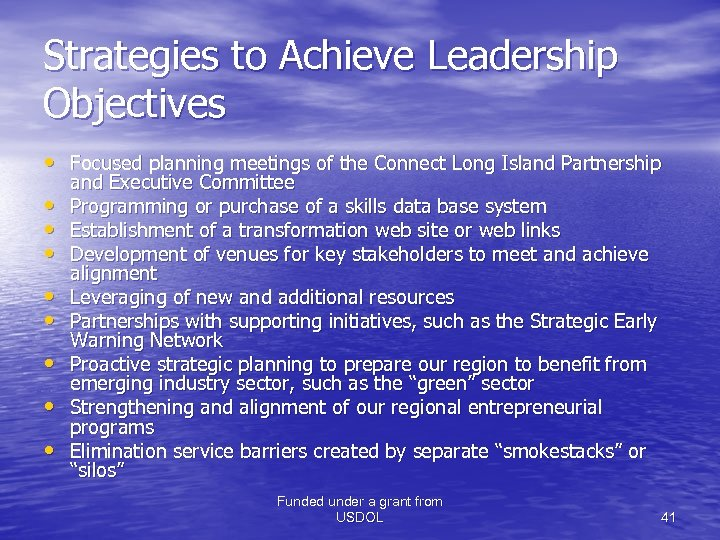 Strategies to Achieve Leadership Objectives • Focused planning meetings of the Connect Long Island