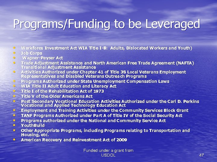 Programs/Funding to be Leveraged • • • • Workforce Investment Act WIA Title I-B: