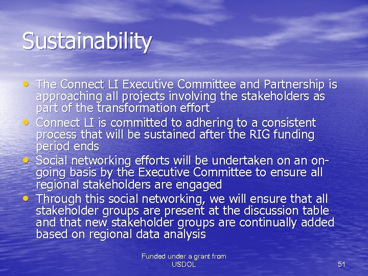 Sustainability • The Connect LI Executive Committee and Partnership is • • • approaching